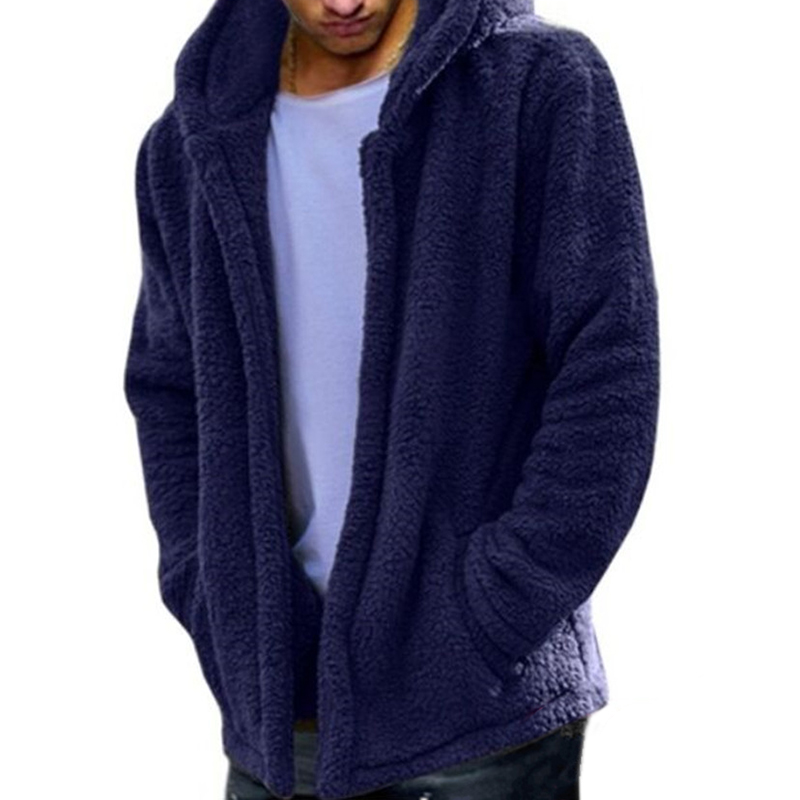 Mens Fashion Casual Fleece Warm Solid Color Hooded Coats