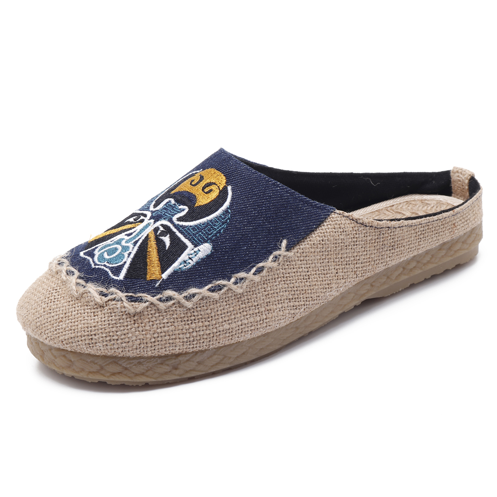 Men Comfy Breathable Flax Slippers Peking Opera Pattern Casual Breathable Loafers
