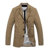 Mens Cotton Outdoor Big Pocket Jacket Autumn Casual Suit Collar Blazers