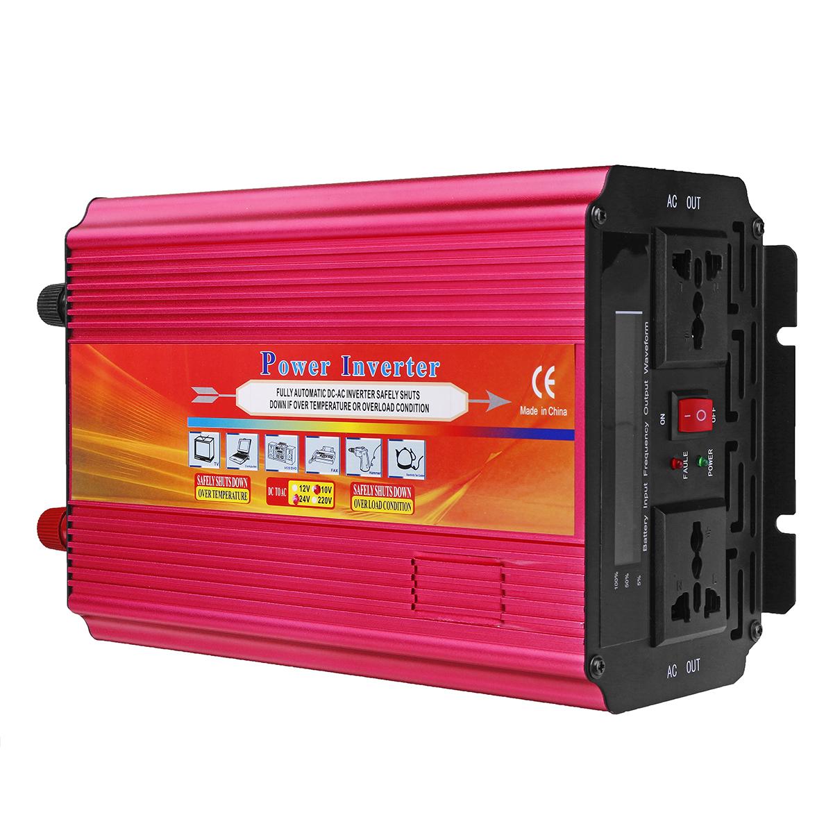 LCD Power Inverter DC 12V/24V to AC 110V/220V 6000W Peak Modified Sine Wave Converter