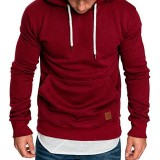 Men's Autumn Winter Big Pockets Hoodies Drawstring Solid Color Pullover Sports Sweatshirts