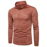 Men's Vintage Slim Fit Cotton Long Sleeve Solid Color Striped Casual T-shirts