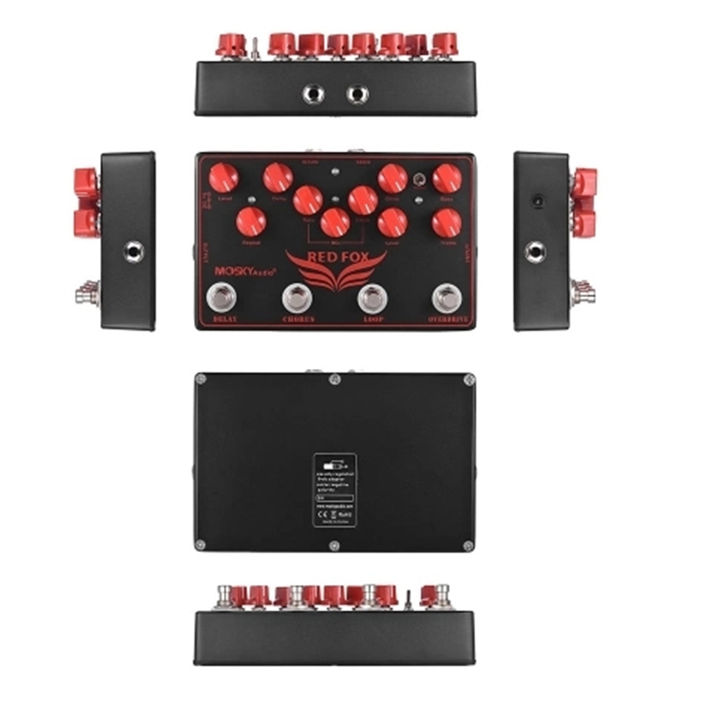 MOSKY RED FOX 4 in 1 Electric Guitar Effects Pedal with Delay Chorus Loop Overdrive