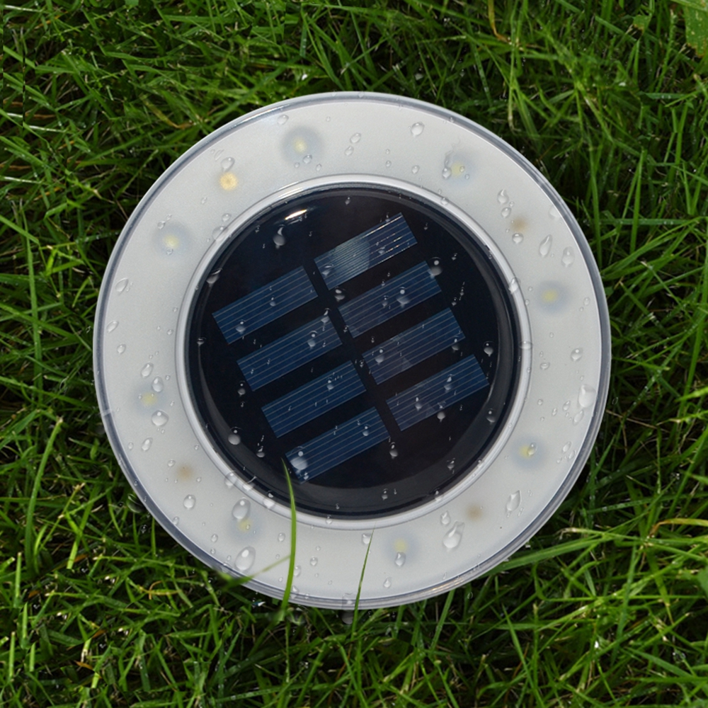 Solar Powered 8 LED Begravet Lamp Round Underground Light Vandtt Udendrs Pathway Garden Yard Lawn
