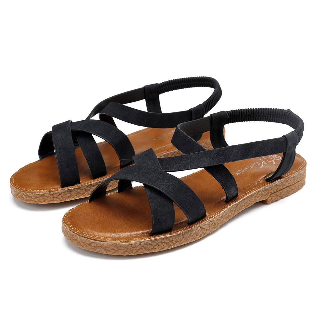 Women Shoes Roman Cross Elastic Band Sandals