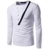 Spring Big Size Cotton Stripe O-neck Long Sleeve Fall Casual Slim T-shirts for Men