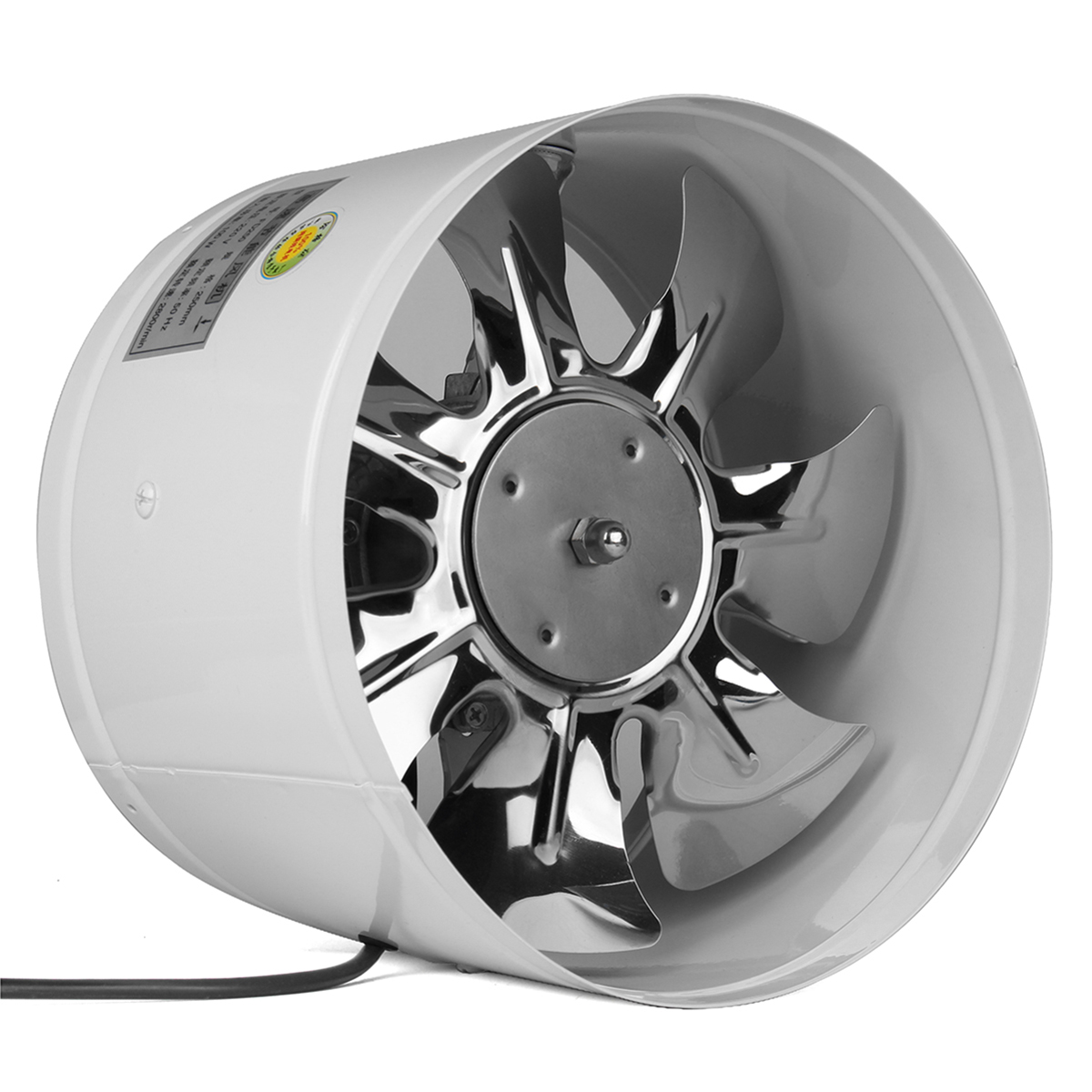 220V 4/6/8/10 Inch Inline Duct Fan Booster Exhaust Blower Air Cooling Vent White