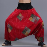 Men's Ethnic Style Printed Loose Wide Leg Pants Casual Baggy Cotton Lantern Pants