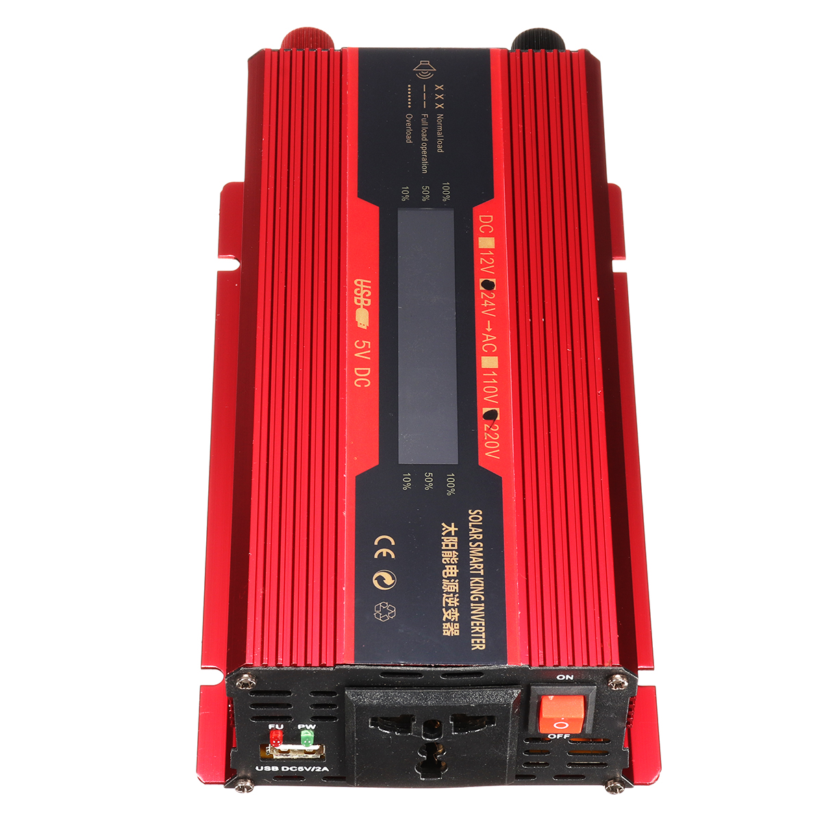 4000W Peak LCD Solar Power Inverter DC12/24V to AC 110V/220V Converter