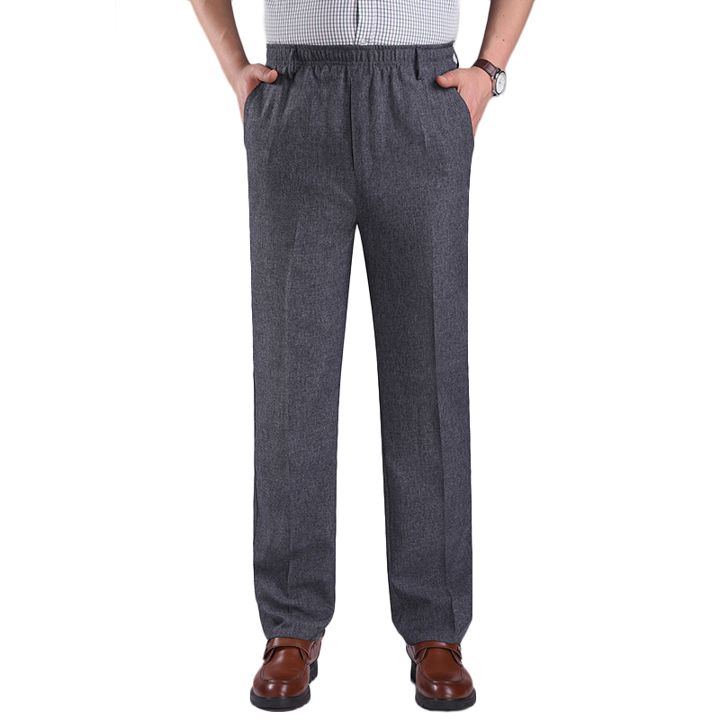 Men's Summer Thin Elastic High Waist Deep Suit Pants Business Casual Straight Trousers