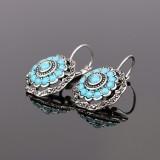 Vintage Ear Drop Earring Hollow Blue Flower Plant Ear Hoop Ethnic Jewelry for Women