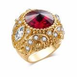 Vintage Finger Ring Round Gemstone Zircon Gold Geometric Rings Ethnic Jewelry for Men