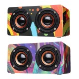 D50 Wooden Colorful Digital Amplifier Bluetooth Wireless Speaker Ultra Bass Subwoofer Sound Headset
