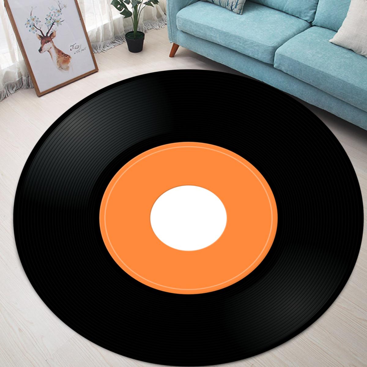 Vinyl Record Printed Soft Fabric Round Floor Mat Carpet Room Area Bedroom Rug Seat Cover Door Rugs