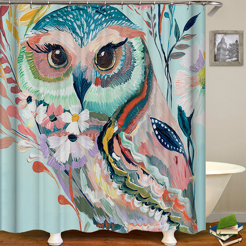 Owl Printed Shower Curtain Non Slip Rug
