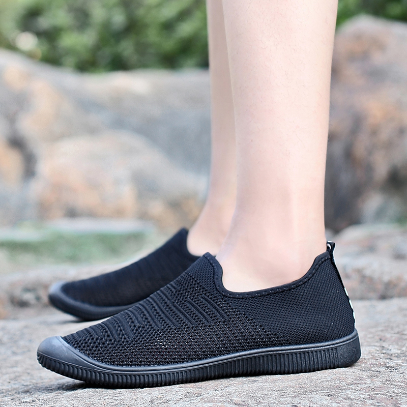 Men Breathable Knitted Mesh Casual Sneakers Soft Slip On Flats