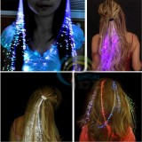 Flash LED Hair Braid 40CM Decorative Christmas Party Light-Up Optic Fiber Extension Barrette