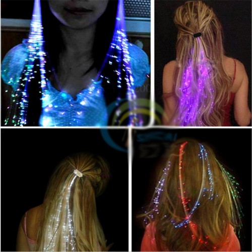 Flash LED Hair Braid 40CM Decorative Christmas Party Light-Up Optic Fiber Extension Barrette