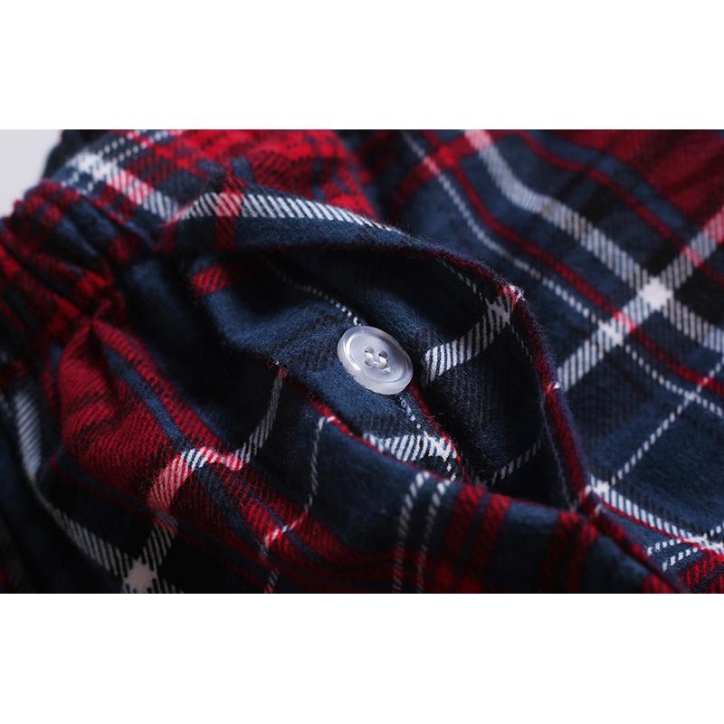 Mens Plaid Printing Turn down Collar Home Cotton Autumn Sleepwear Set