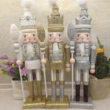 42cm Wooden Nutcracker Doll Soldier Vintage Handcraft Decoration Christmas Action Figure Gifts