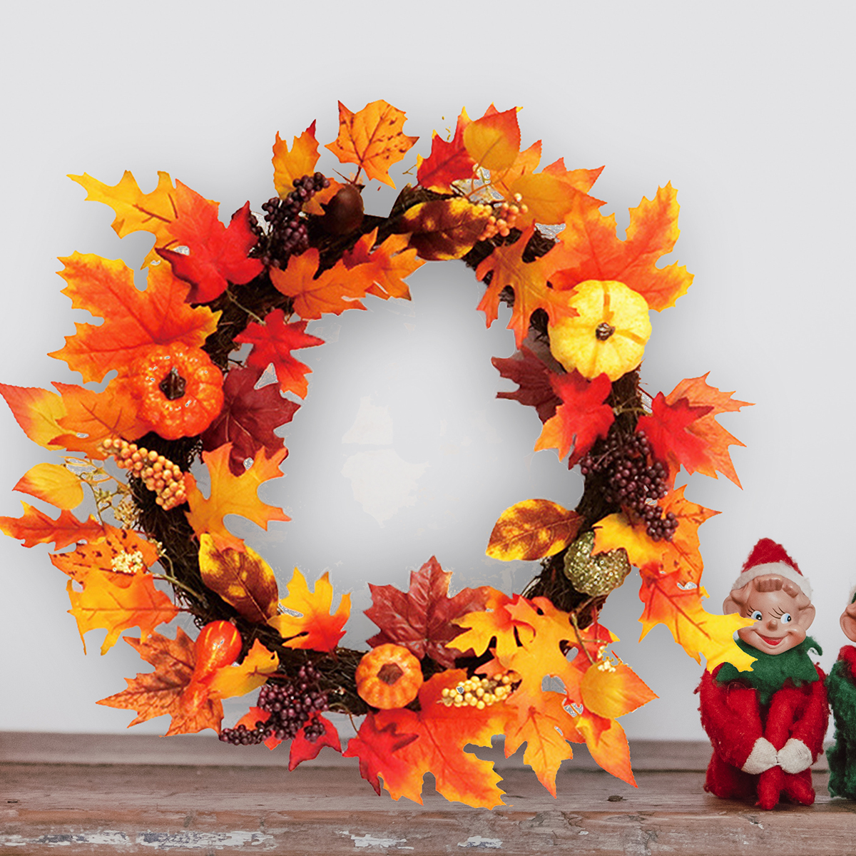 60cm Christmas Maple Leaves Grape Berry Wreath Garland Door Hanging