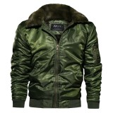 Mens Military Outdoor Thick Fur Collar Windproof Warm Loose Bomber Jacket