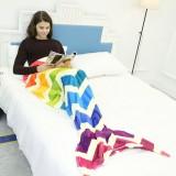 Mermaid Blanket Flannel Fleece Rainbow Mermaid Tail Blanket Adult Sofa Mermaid Quilt Wrap Blankets