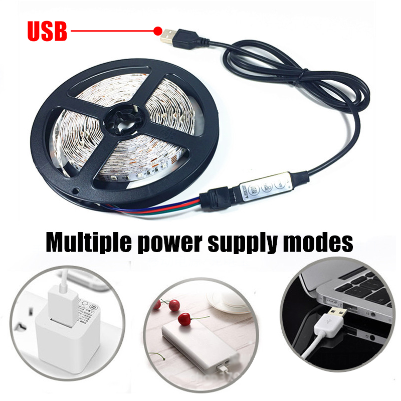 1M 2M 4M USB SMD2835 RGB LED Strip Light With 24Keys Remote Control For Bar  TV Background Computer