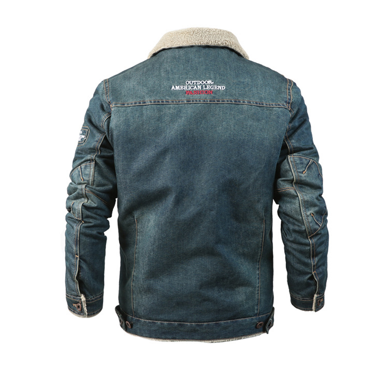 Mens Thick Warm Fleece Turn Down Collar Embroidery Winter Denim Casual Jacket
