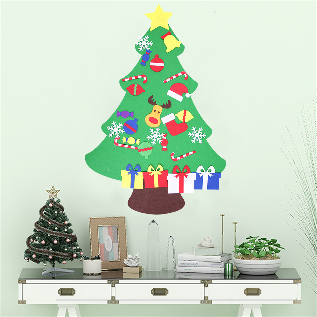 100cm diy christmas deluxe felt tree wall hanging toddler child preschool craft decorations. Black Bedroom Furniture Sets. Home Design Ideas