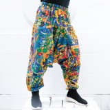 Mens Casual Plus Size M-5XL Loose Pants Cotton Elastic Waist Ethnic Print Harem Pants