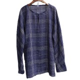 INCERUN Mens Vintage Cotton Plaid Printing Loose Tee Tops Casual O-neck Shirts Size L-5XL