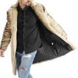 Mens Winter Gradient Striped Warm Faux Fur Coat Suit Collar Mid-long Casual Jacket