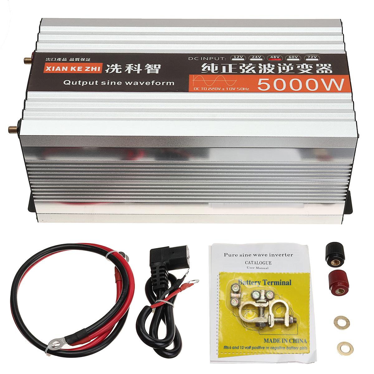 Pure Sine Wave Inverter Dual LED Display 5000W Power Inverter 12V/24/48/ DC To 220V AC