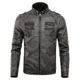 Mens Winter Thick Fleece Warm PU Faux Leather Motorcycle Biker Jacket
