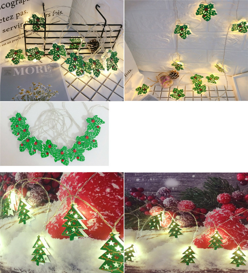 Battery Operated 2M Christmas Tree Leaves Holiday Christmas Party 20 LED Fairy String Light