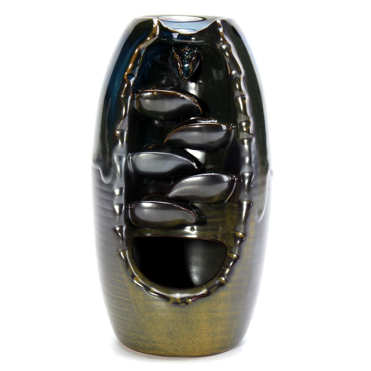 Porcelain Waterfall Backflow Ceramic Incense Burner Censer Holder Decor 10 Cones Office Home Decor