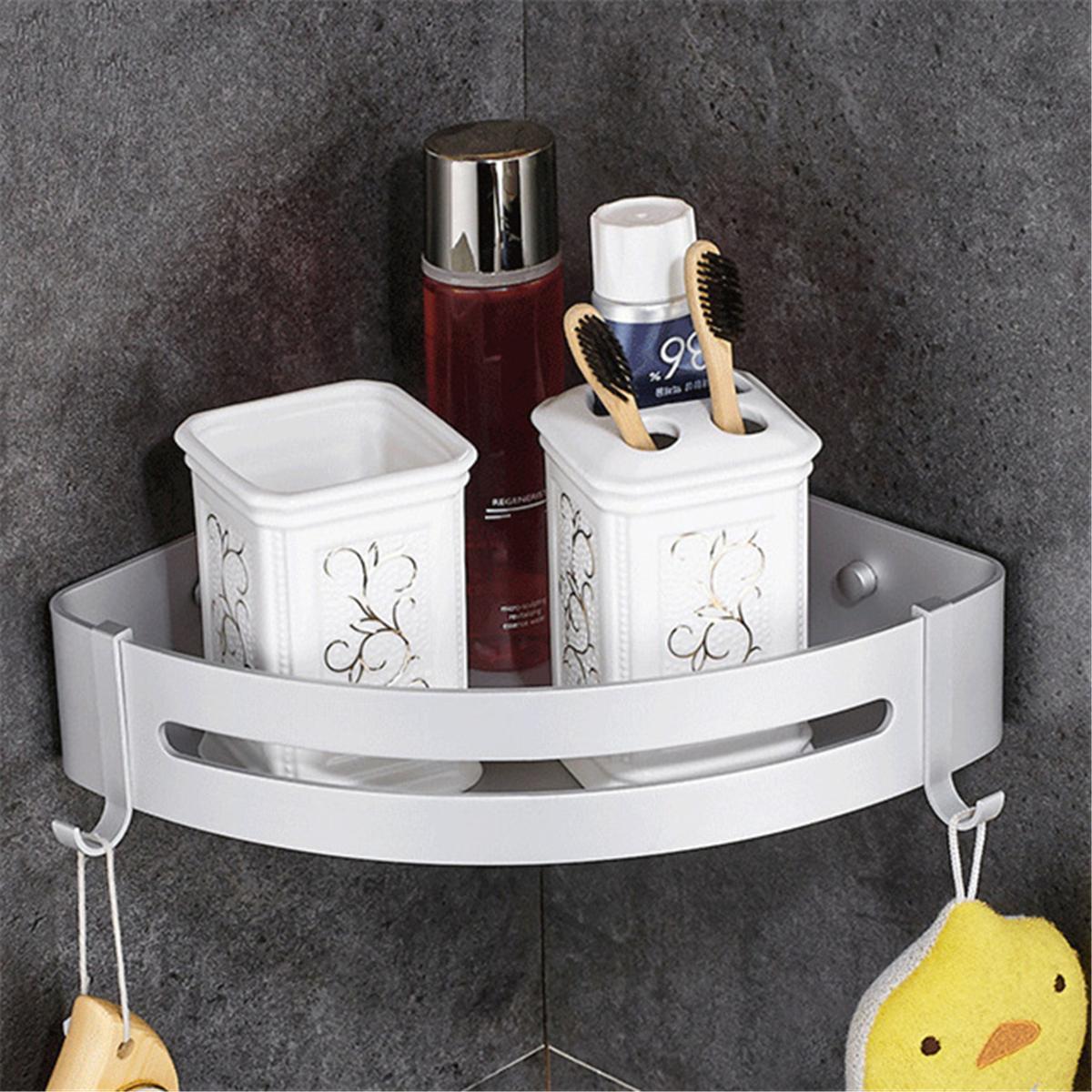 Corner wall shelf aluminum bathroom triangular shower bath - Bathroom wall cabinet with towel rack ...