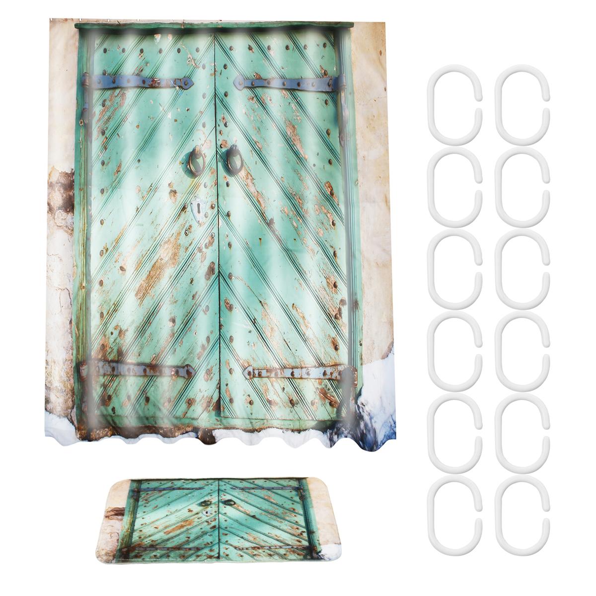 180cm X 180cm Rustic Wooden Barn Door Bathroom Waterproof Fabric Shower Curtain Flannel Bathroom Mat