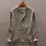 Men's Vintage Loose Comfy Solid Color Button Fly Stand Collar Long Sleeve Casual T-shirts