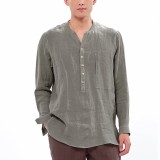 Mens Vintage Comfy Cotton Breathable V-neck Solid Color Loose Casual Buttons T Shirts