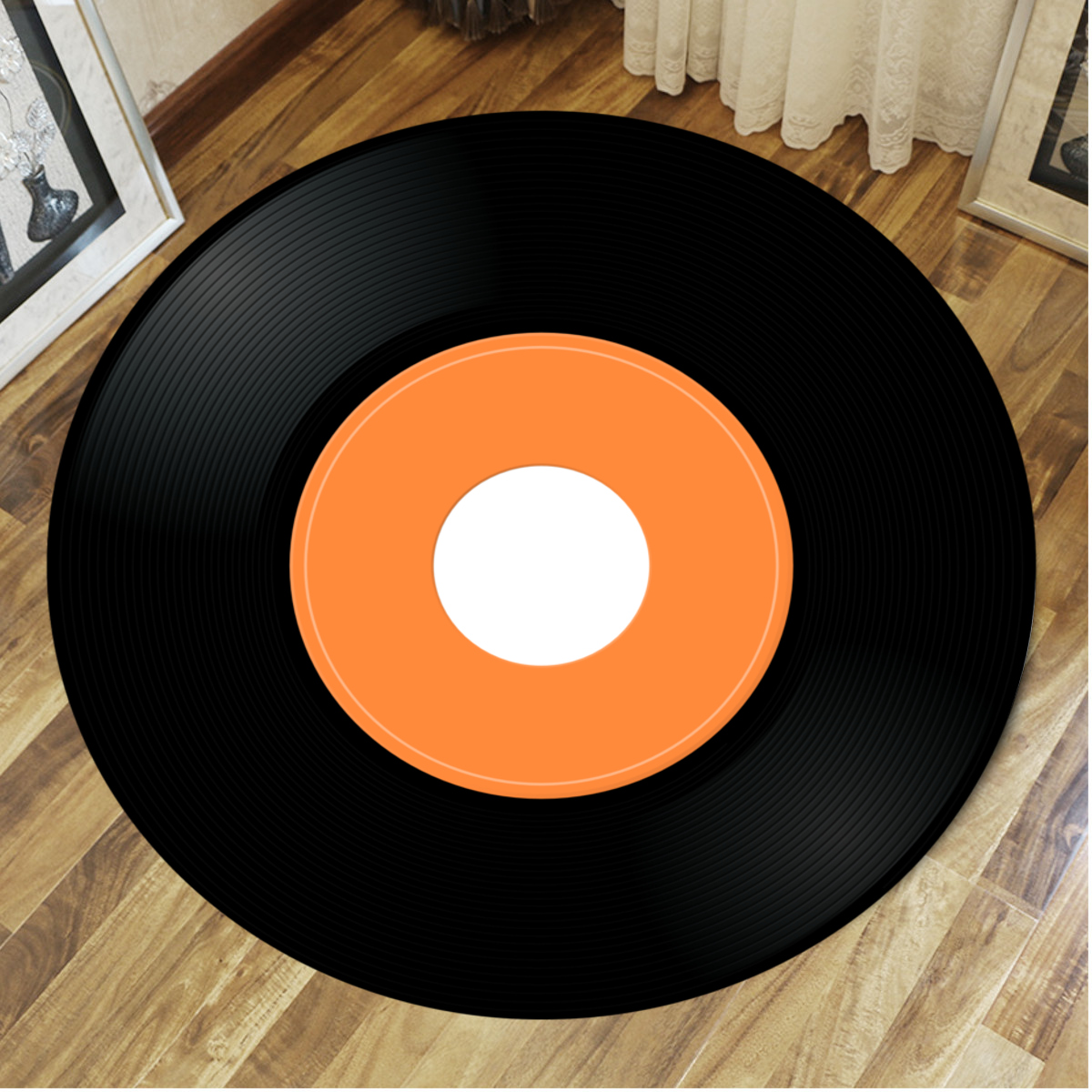 Vinyl Record Printed Soft Fabric Round Floor Mat Carpet Room Area Bedroom Rug Seat Cover Door Rugs