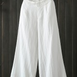Women High Elastic Waist Loose Wide Leg Pants with Pockets