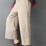 Women Pure Color Elastic Waist Pockets Corduroy Pants