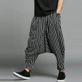 Mens Casual Loose Fashion Stripe Wide Leg Autumn Elastic Waist Pockets Harem Pants