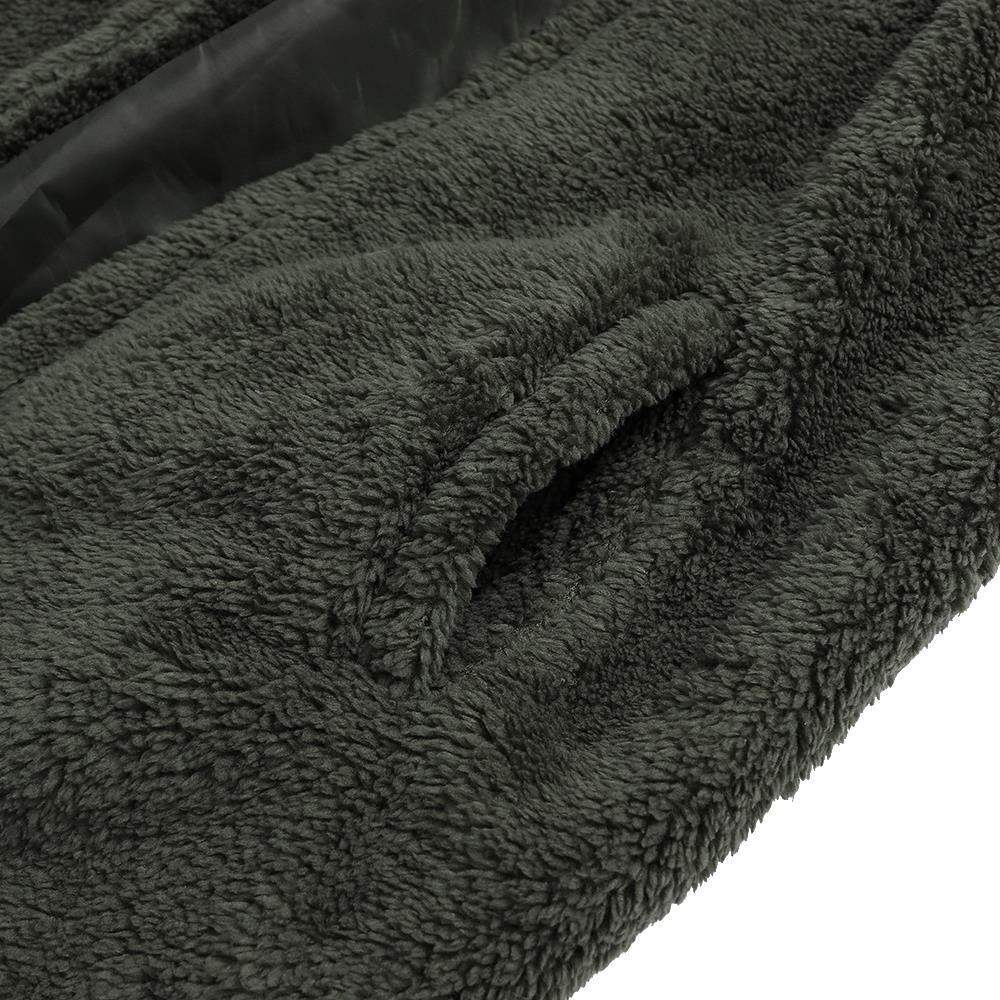 Mens Fashion Casual Fleece Warm Solid Color Hooded Coats