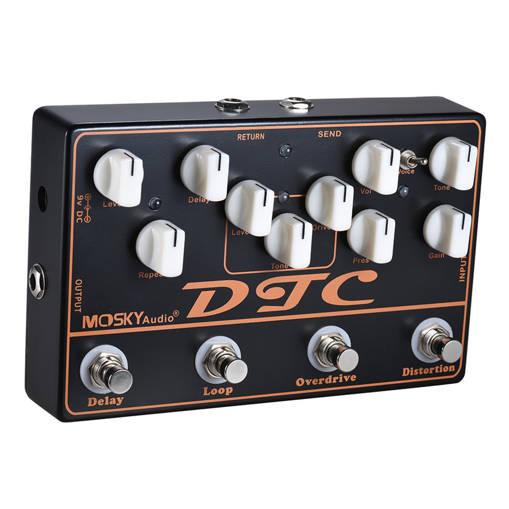mosky dtc 4 in 1 electric guitar effects pedal with distortion overdrive loop delay. Black Bedroom Furniture Sets. Home Design Ideas