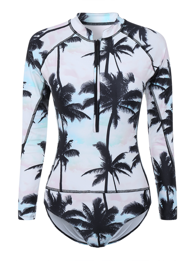 Front Zipper Printed Long Sleeve Surf Suit Spa One Piece Swimwear