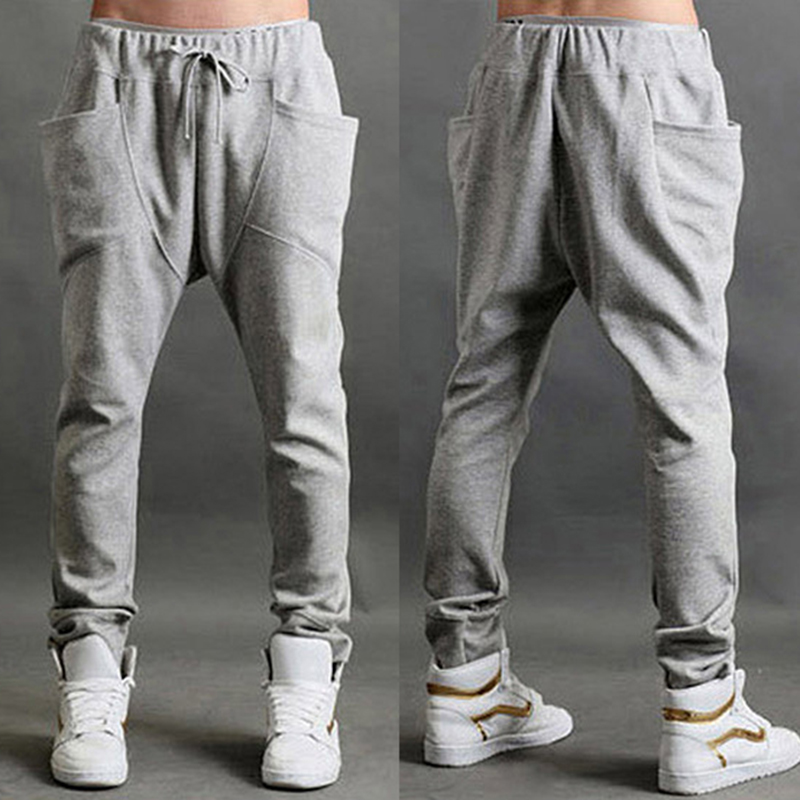 Men's Casual Sports Pants Solid Color Knited Fashion Simple Baggy Pants