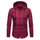 Men's Casual Solid Color Hooded Stripe Drawstring Slim Fit Buttons Fly Long Sleeve Shirts